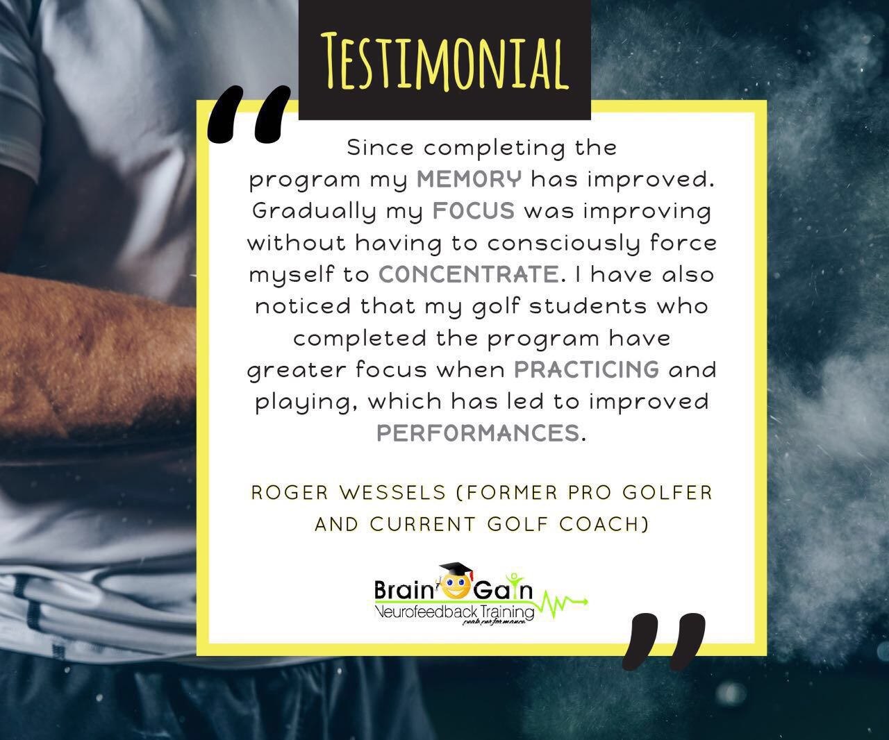 Rodger Wessels Pro Golfer Testimonial