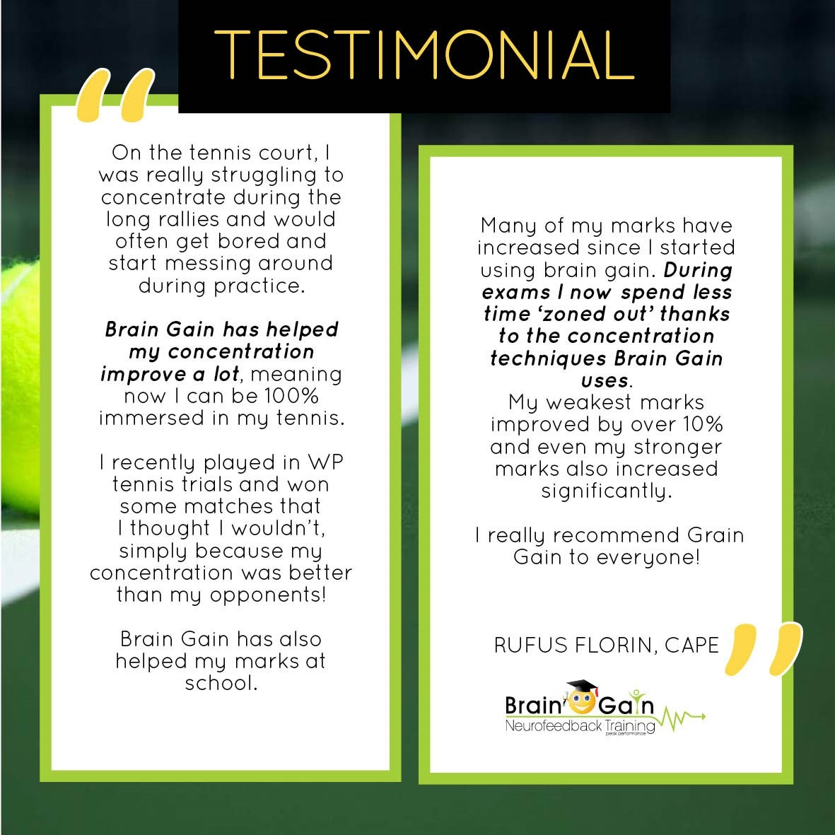 Tennis and Academics Testimonial